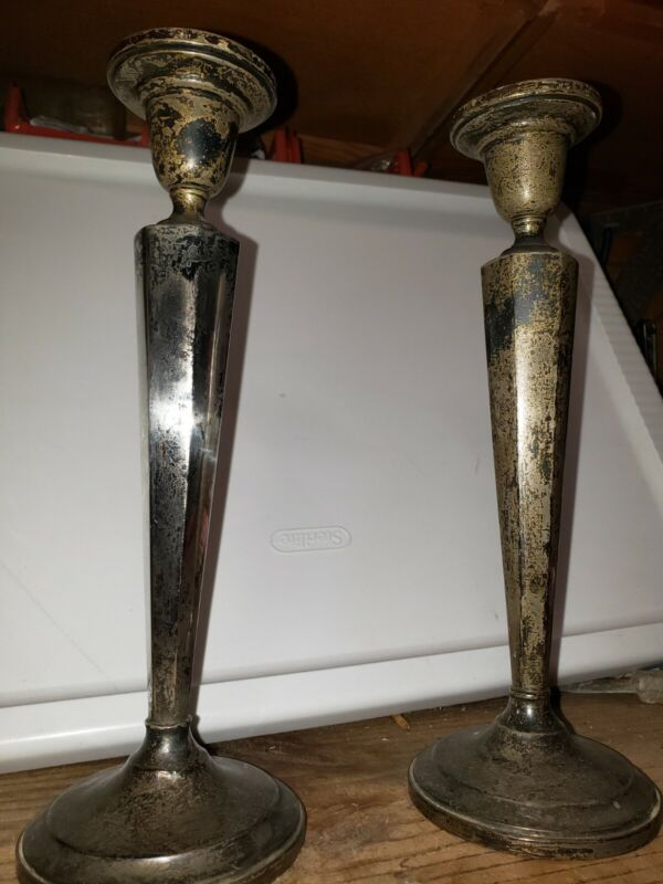 Vintage weighted sterling silver candlesticks 11""