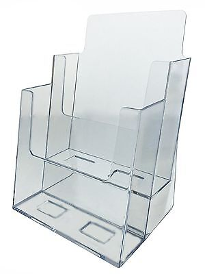 2 Tier Brochure Holder For 6w Literature Pamphlet Display Stand Clear Acrylic