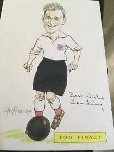 TOM FINNEY PRESTON & ENGLAND  SIGNED BOB BOND A4 Sheet Genuine Autograph