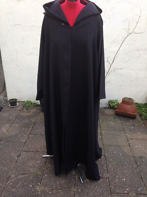 oversized black hood cloak with sleeves   harry wizard school partial lined R44 (Black Hooded Cloak With Sleeves)