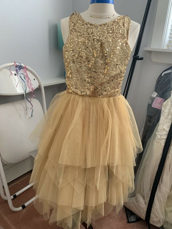 Ballet Costume Dance Gold Sequin Many Layers In Skirt Adult Size Small