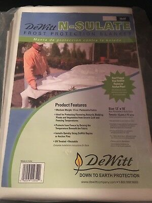 (DeWitt N-Sulate Frost Protection Blanket 10' X 12' 1.5 oz Freeze Cloth NEW)