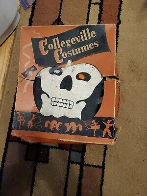Vintage Halloween Costume - Mid 1900's Collegeville Skeleton - -Cloth -Original