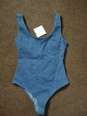 BNWT Sexy HONEY PUNCH Stretch Denim Blue BODYSUIT ~SIZE UK S - UK 8/10~