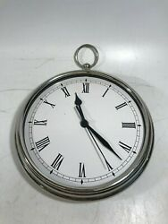 POTTERY BARN ROUND POCKET WATCH Style CLOCK Silver Quartz - No Glass Front!