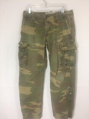 Abercrombie & Fitch Vintage Military Camo Cargo Paratrooper Pants Mens 34x29 Vtg