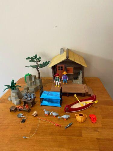 Vintage Geobra Playmobil 3826 Rare Sportsman's Fishing Cabin COMPLETE