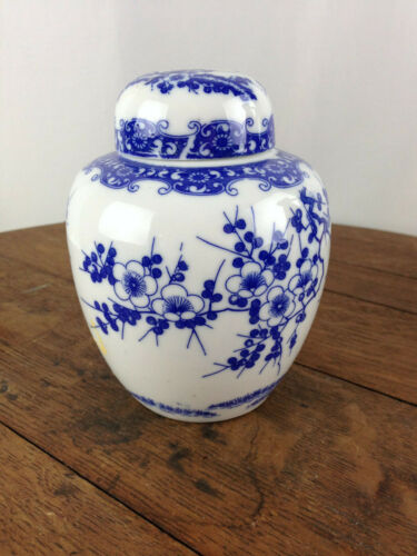 Vintage Asian Blue and White Porcelain Tea Caddy  #WH-6