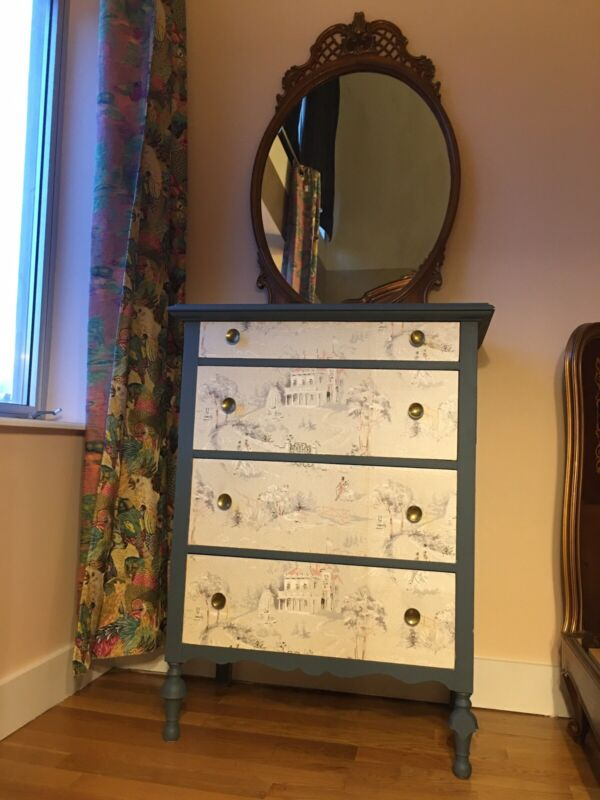 Antique Wallpapered Dresser And Mirror - Local Pickup Williamsburg Brooklyn