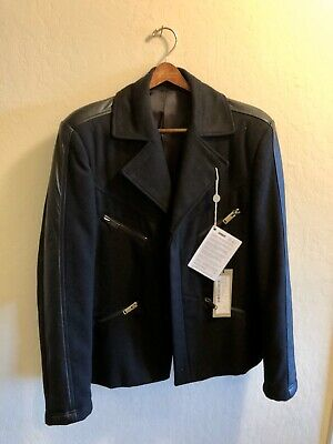 Les Hommes Urban Wool & Leather Trim Men's Coat Jacket, 52 EU 42 US. NWT. Rare!
