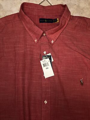 Ralph Lauren Oxford Chambray Shirt Mens BT 5XB Red w/ Pony Long Sleeve NWT