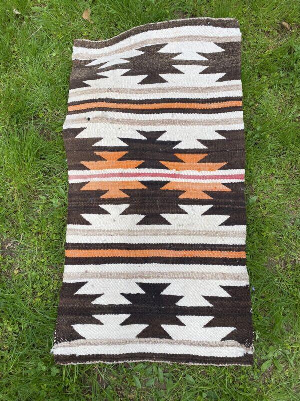 """vintagr native american rug wool blend 38.5"""" x 21"""" orange red brown tan"""