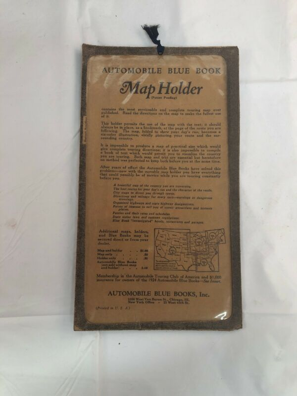 Antique Automobile Blue Book Map Holder BF Goodrich Rubber Company Advertisement