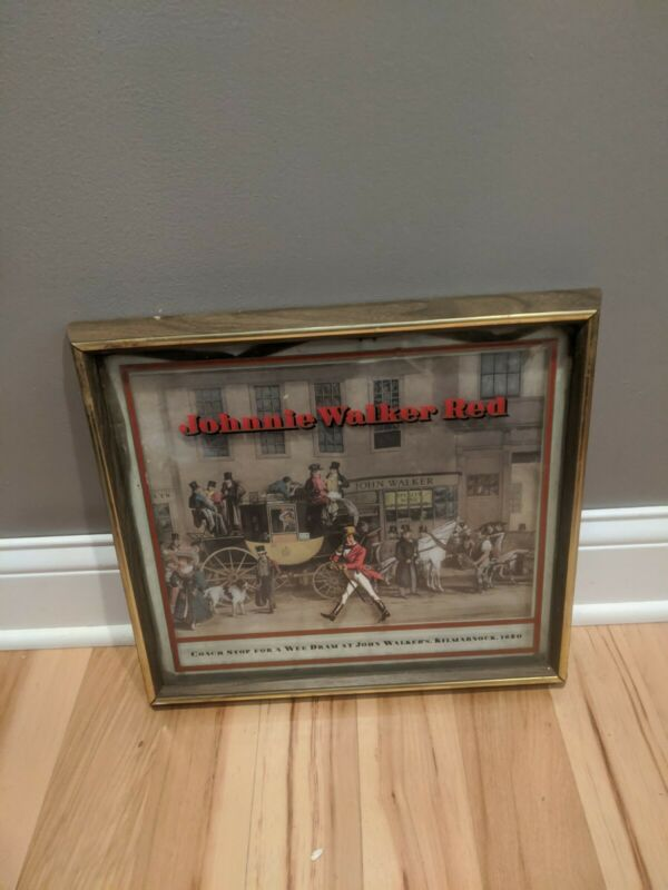 Vintage Johnnie Walker Red Reverse Painted Glass Art Sign Mirror Whiskey Bar
