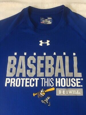 Under Armour T-Shirt MEN SMALL Blue Baseball Protect This House /I Will HeatGear