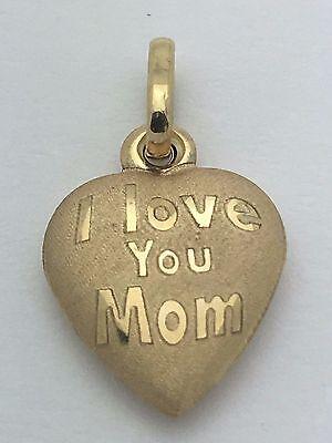 14K Yellow Gold Italian Small Puffy Heart  I Love You Mom  Charm Pendant 0 5Gram
