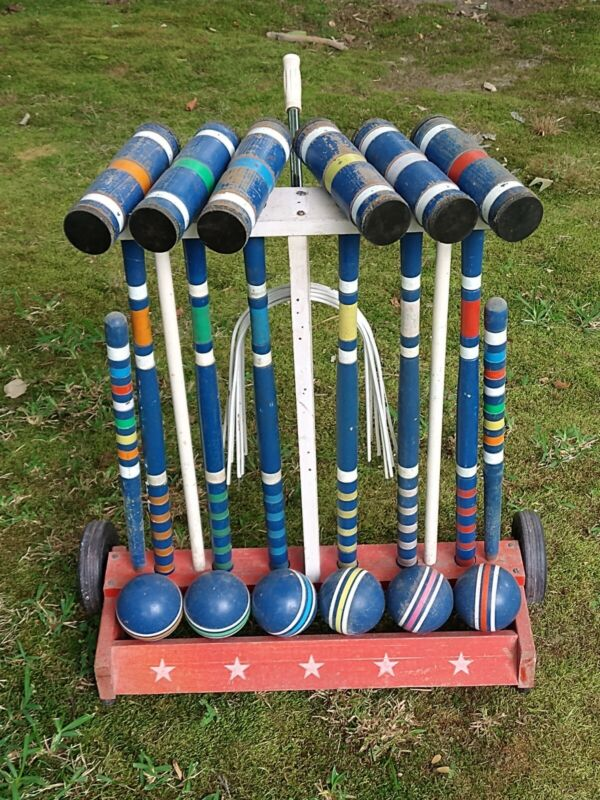 Ltd. ALL STAR Edition 6 player Croquet Rolling Complete Set Rolling Cart Stand