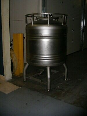 800 Liter 200 Gallon Stainless Steel Tote Tank Vessel Cone Bottom Rated 14.9 Psi