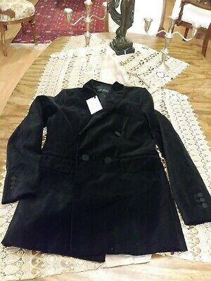 Zara Black Velvet Double Breasted Jacket Blazer Sz S NWT 2731/269