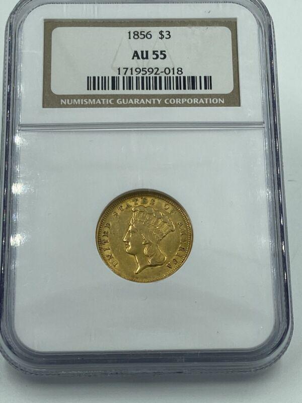 1856 NGC AU55 $3 Gold Indian Princess Price Guide $1,500!
