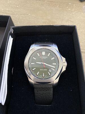 Victorinox Swiss Army Men's INOX Black Leather Watch Green Dial