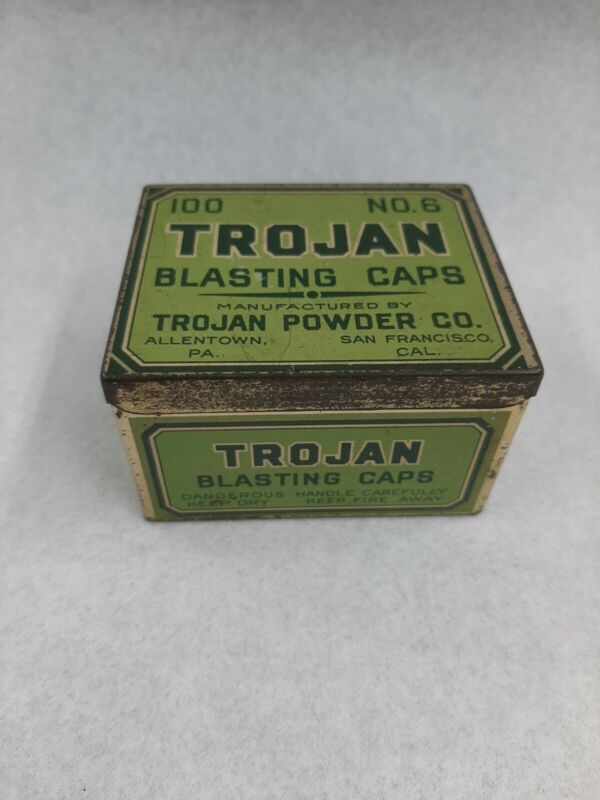 Trojan blasting Trojan powder company San Francisco antique tin