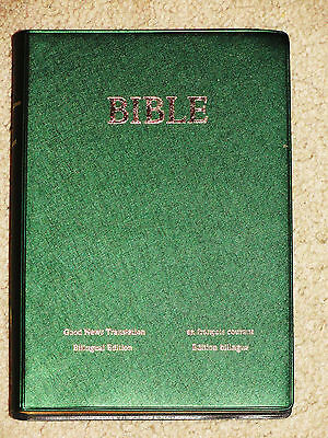 French English Parallel Bible  Good News Version  Courant  Green Vinyl