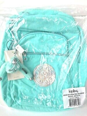 "NWT Kipling BP4369 Seoul Go Small Backpack 11"" Laptop Fresh Teal Hologram $109"
