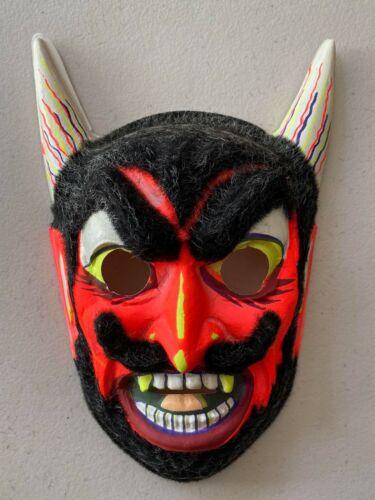 Vintage Unused Ben Cooper or Collegeville Flocked Devil Halloween Costume Mask