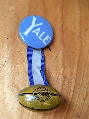 d696cbeeaea vintage 1930s YALE Bulldogs Pin Button Ribbon   Small Tin Melon Football  Charm