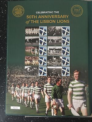 ROYAL MAIL SMILERS SHEET WITH FOLDER.50TH ANNIVERSARY OF THE LISBON LIONS.