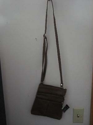 TRENDY SHOULDER/CROSS BODY LIGHT BROWN LEATHER PURSE BAG WITH 5 ZIPPER POCKETS