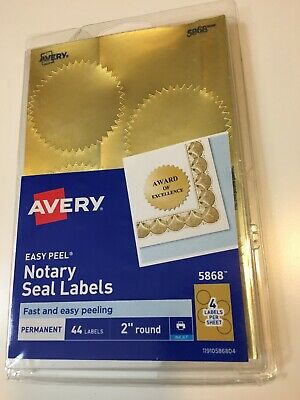 Avery Inkjet Print Or Write 2 Round Gold Notary Seal Labels 44pk New Sealed