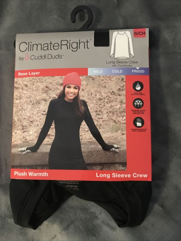 Climate Right Cuddl Duds Sz S Base Layer Plush Warmth Long Sleeve Crew Frigid