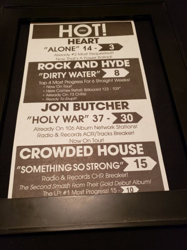 Heart/Crowded House/John Butcher/Rare Original Radio Promo Poster Ad Framed!