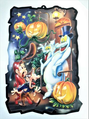 Vintage Halloween Ghosts 3D Molded Vacuform Plastic Wall Decoration Art House