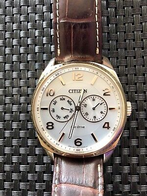 (Citizen Eco-Drive Men's Dress Gold/White Dial Brown Leather Band Watch ($235))