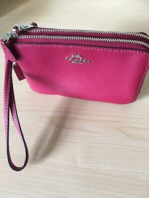 Coach Wristlet Purse Double zipped Compartments With handle Dark Fuchsia
