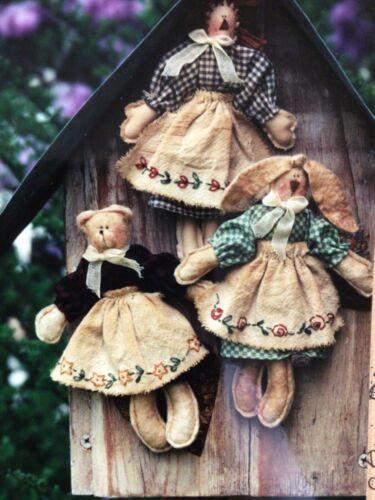 PATTERN Raggedy Ann Doll Teddy Bear Doll Bunny Rabbit Doll Waltzing With Bears