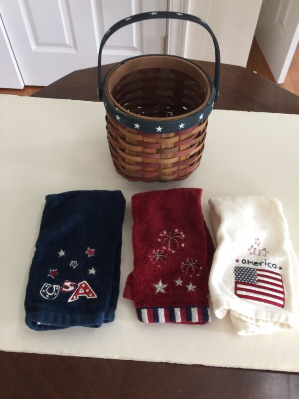Patriotic Holiday Wooden Basket and 3 Hand Towels-embossed designs USA