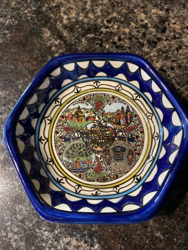 Vibrant Gorgeous Holy Land Israel Ceramic Pottery Dish Bowl