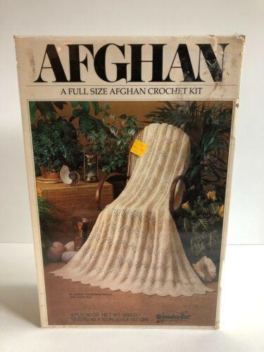 Vintage Wonderart Afghan Crochet Kit  Fisherman Ripple 2408-01 45 X 62 Cream