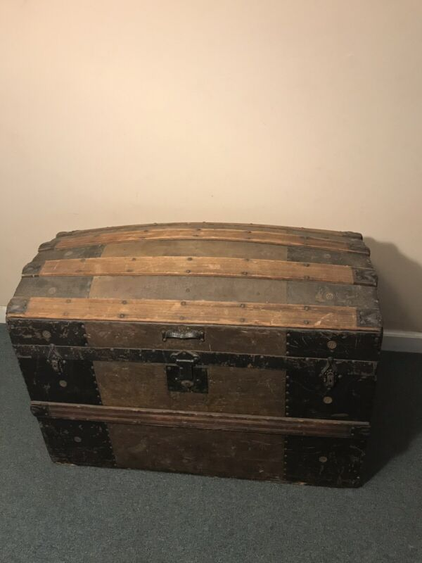 Antique Vintage Wooden Sea Treasure Chest Trunk