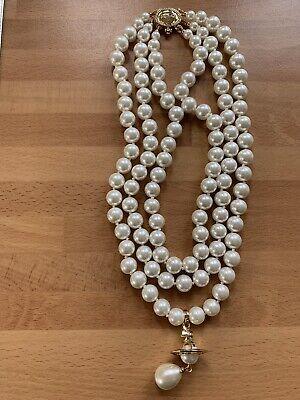 Vivienne Westwood 3 Row Pearl Drop Choker Necklace