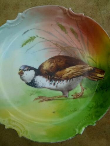 ANTIQUE LIMOGES CORONET GAME BIRD PLATE / SIGNED L. COUDERT