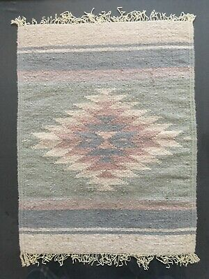 Vintage Small Decorative RUG Mexican  Wool Boho Style Bohemian Ethnic