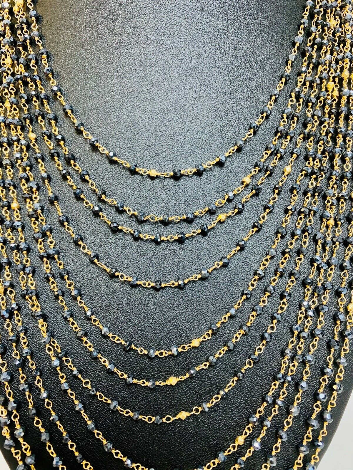 Made to Order Ombre Necklace with Genuine Spinel Stones Gemstone Row Necklace in Gold
