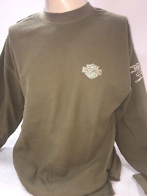 - Harley Davidson bar and shield embroidered Green Thermal L/s Shirt XL