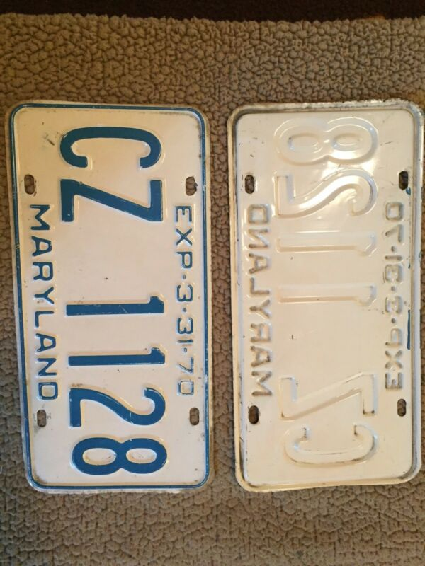1970 Maryland Pair License Plates Tags