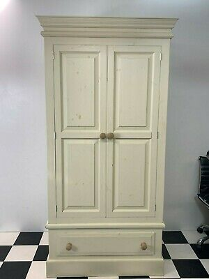 Modern painted pine double door wardrobe with storage drawer Delivery available